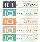 10 years Anniversary retro banner, set — Stock Vector