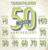 Anniversary retro sign collection — Stock Vector