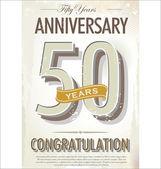 50 years Anniversary retro background — Stock Vector