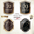 70 years anniversary golden label — Stock Vector