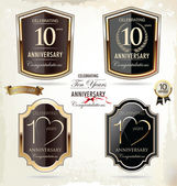 10 years anniversary golden label — Stock Vector