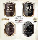 50 lat rocznica złoty etykiety — Wektor stockowy