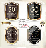 50 years anniversary golden label — Stok Vektör