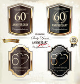 60 years anniversary golden label — Stock Vector
