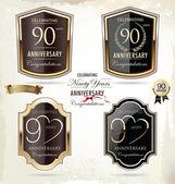 10 years anniversary golden label — Stock Vector