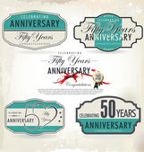 50 years retro anniversary sign collection — Stock Vector