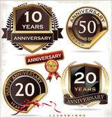 Etichette retrò anniversario — Vettoriale Stock