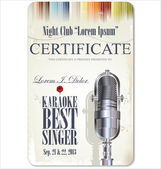 First award certificate karaoke template — Stock Vector