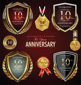 10 years anniversary labels — Stock Vector