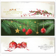 Merry Christmas banners set design — Stock Vector