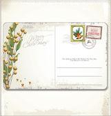 Vintage Christmas Postcard and Stamps — Stock Vector