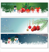 Merry christmas banner tasarım ayarla — Stok Vektör