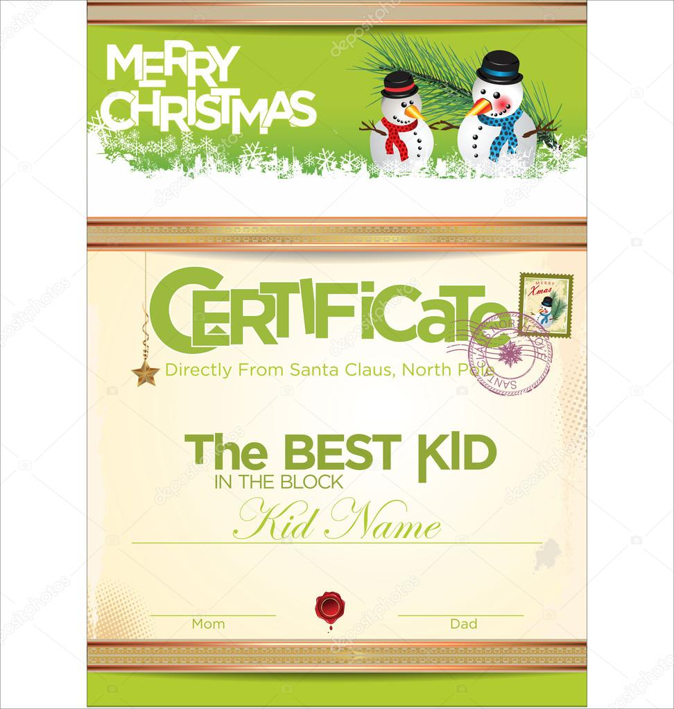 Certificate template the best kid Vector totallyout – Santa Claus Certificate Template