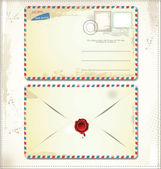 Old postage envelope with stamps and wax seal — Stockvektor