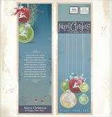Merry Christmas retro banner, set — Stok Vektör