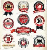 周年纪念标志集合,复古的设计 — 图库矢量图片