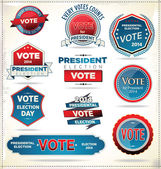 Election badges and labels — Stock Vector