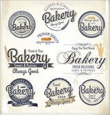 Las etiquetas y placas de panadería retro — Vector de stock