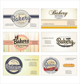Set of 6 bakery retro business card templates — Stock Vector