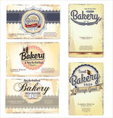 Set of 5 bakery retro business card templates — Stock Vector