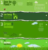 современная экология зеленый фон, обрывки бумаги — Cтоковый вектор