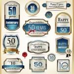 Luxury anniversary golden labels — Stock Vector #38615605