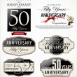 Stock Vector: Anniversary labels