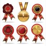Collection Wax Seal And Award Ribbons — Stock Vector #38917785