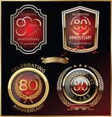 Anniversary red label, set — Stockvektor