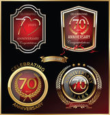 Anniversary red label, set — Stock Vector
