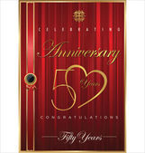 Anniversary red background, 50 years — Vector de stock