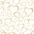 Stock Vector: Seamlessly golden hearts on white background