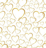 Seamlessly golden hearts on white background — Stock Vector