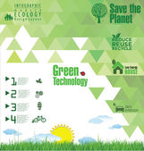 Modern green ecology template — Stock Vector