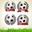 Set of vintage styled soccer championship labels — Stock Vector