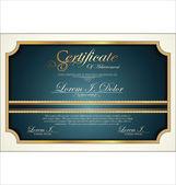 Blue certificate template — Stock Vector