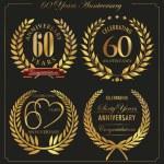Anniversary golden laurel wreath, 60 years — Stock Vector