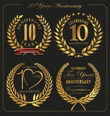Anniversary golden laurel wreath, 10 years — Stock Vector