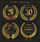 Anniversary golden laurel wreath, 20 years — Stock Vector
