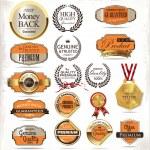 Premium quality golden label — Stock Vector