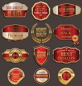 Set of premium golden labels — Stock Vector