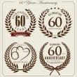 Anniversary laurel wreath, 60 years — Stock Vector