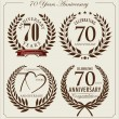 Anniversary laurel wreath, 70 years — Stock Vector