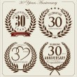 Anniversary laurel wreath, 30 years — Stock Vector