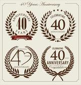 Anniversary laurel wreath, 40 years — Stock Vector
