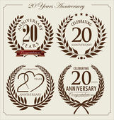 Anniversary laurel wreath, 20 years — Stock Vector