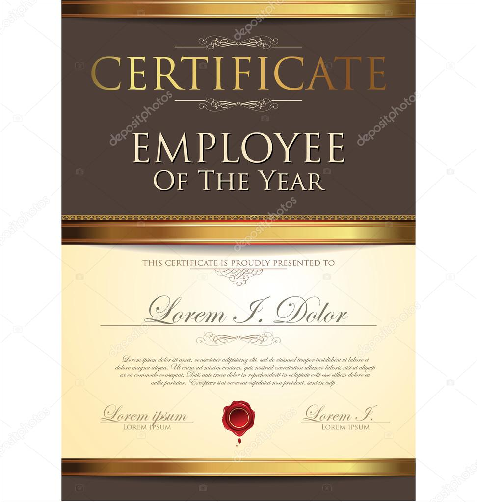 employee of the year certificate free template - certificate employee of the year stock vector