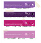 Purple Torn paper background with space for text — Stock Vector
