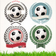 Set of soccer labels with laurel wreaths — Stock Vector #41574839