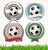 Set of soccer labels with laurel wreaths — Stock Vector